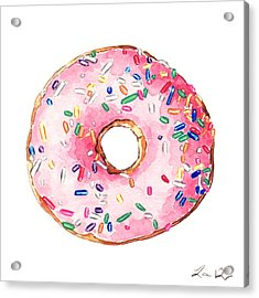 Pink Donut With Sprinkles Acrylic Print by Laura Row