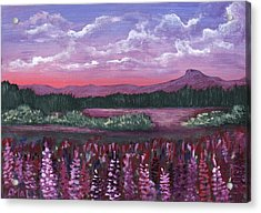 Pink Flower Field Acrylic Print by Anastasiya Malakhova