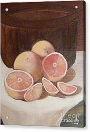 Pink Grapefruit Acrylic Print by Adrianne  Wagers