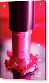 Pink Lipstick Pressed On Surface Acrylic Print by Jorgo Photography - Wall Art Gallery
