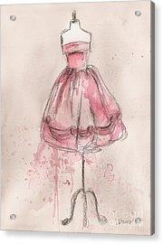 Pink Party Dress Acrylic Print by Lauren Maurer