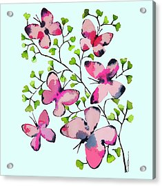 Pink Profusion Butterflies Acrylic Print by Roleen Senic