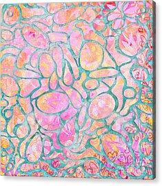 Pink Quartz And Teal Circular Pattern Design By Megan Duncanson Madart Acrylic Print by Megan Duncanson