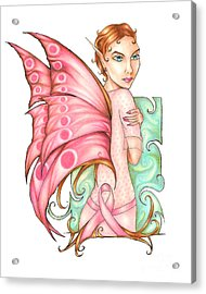 Pink Ribbon Fairy For Breast Cancer Awareness Acrylic Print by Kristin Aquariann