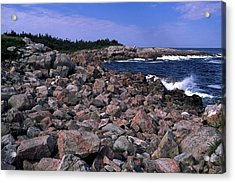 Pink Rock Shoreline Acrylic Print by Sally Weigand