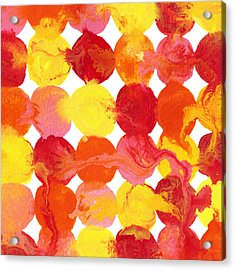 Pink Yellow Red Orange Flowing Paint Circle Pattern Acrylic Print by Amy Vangsgard