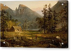 Pioneer's Home Eagle Cliff  White Mountains Acrylic Print by Jasper Francis Cropsey