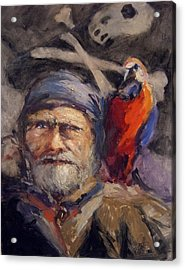 Pirate With Bird And Flag Acrylic Print by R W Goetting