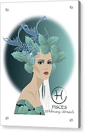 Pisces Acrylic Print by Johanna Virtanen