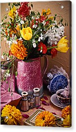 Pitcher Of Flowers Still Life Acrylic Print by Garry Gay