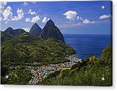 Pitons St Lucia Acrylic Print by Chester Williams