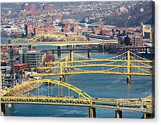 Pittsburgh Bridges Along The Allegheny River Acrylic Print by Amy Cicconi
