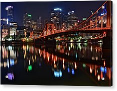 Pittsburgh Lights Acrylic Print by Frozen in Time Fine Art Photography