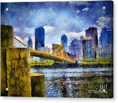 Pittsburgh North Shore Skyline Acrylic Print by Amy Cicconi