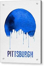 Pittsburgh Skyline Blue Acrylic Print by Naxart Studio