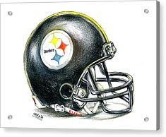 Pittsburgh Steelers Helmet Acrylic Print by James Sayer