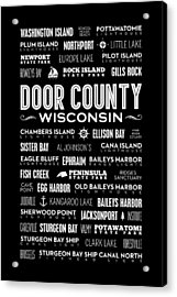 Places Of Door County On Black Acrylic Print by Christopher Arndt