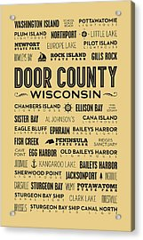 Places Of Door County On Goldenrod Acrylic Print by Christopher Arndt