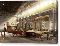 Plane - In The Airplane Factory 1918 Acrylic Print by Mike Savad