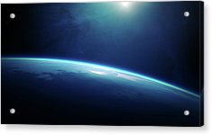 Planet Earth Sunrise From Space Acrylic Print by Johan Swanepoel