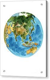 Planet Earth Watercolor Art Print Painting Acrylic Print by Joanna Szmerdt