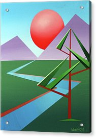 Planet X With Tree Abstract Landscape Painting Acrylic Print by Mark Webster