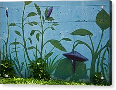Plant Mural With Live Plants Acrylic Print by Mark Weaver
