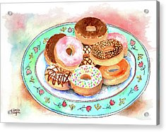 Plate Of Donuts Acrylic Print by Arline Wagner