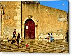 Playing In Taormina Acrylic Print by Silvia Ganora