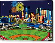 Pnc Park Fireworks Acrylic Print by Ron Magnes