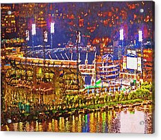 Pnc Park On A Light Up Night Acrylic Print by Digital Photographic Arts