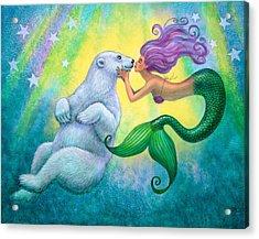 Polar Bear Kiss Acrylic Print by Sue Halstenberg