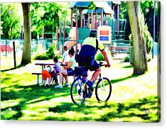 Police Officer Rides A Bicycle Acrylic Print by Lanjee Chee