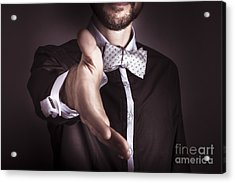 Polite Sophisticated Man Offering His Hand Acrylic Print by Jorgo Photography - Wall Art Gallery