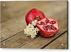 Pomegranate And Flowers On Tabletop Acrylic Print by Anna Hwatz Photography Find Me On Facebook