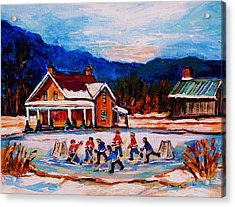 Pond Hockey Acrylic Print by Carole Spandau