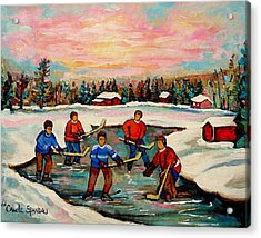 Pond Hockey Countryscene Acrylic Print by Carole Spandau
