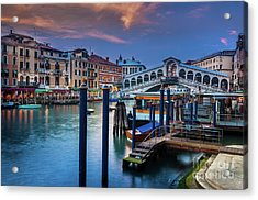 Ponte Rialto Evening Acrylic Print by Inge Johnsson