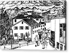 Pontresina Switzerland Acrylic Print by Monica Engeler