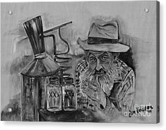 Popcorn Sutton - Black And White - Waiting On Shine Acrylic Print by Jan Dappen