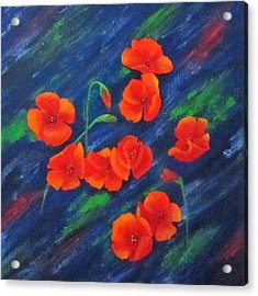 Poppies In Abstract Acrylic Print by Roseann Gilmore