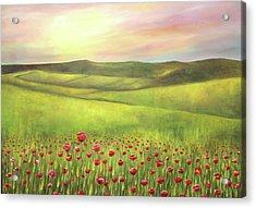 Poppies Sunset  Acrylic Print by Gabriela Valencia