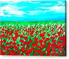 Poppy Field Abstract Acrylic Print by Marsha Heiken