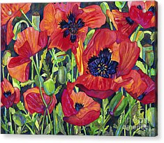 Poppy Profusion Acrylic Print by Barb Pearson