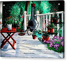 Porch Cat Sleeps Acrylic Print by Laura Brightwood