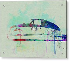 Porsche 356 Watercolor Acrylic Print by Naxart Studio