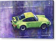Porsche 911 Turbo Green Acrylic Print by Yuriy  Shevchuk