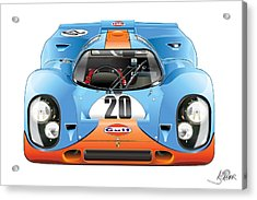 Porsche 917 Gulf On White Acrylic Print by Alain Jamar