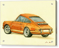Porsche Classic Art 911 Acrylic Print by Juan  Bosco