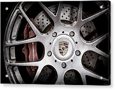 Porsche Wheel Emblem -1323ac Acrylic Print by Jill Reger